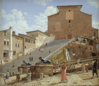 C.W. Eckersberg (1783-1853), Marmortrappen, som foerer op til kirken Santa Maria in Aracoeli i Rom, 1814-1816